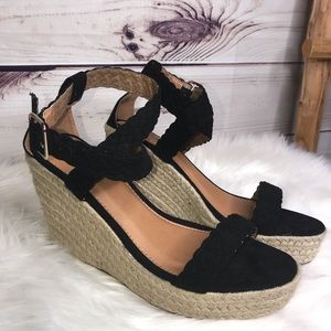 Qupid Black Strap Espadrilles Braid Wedges 10